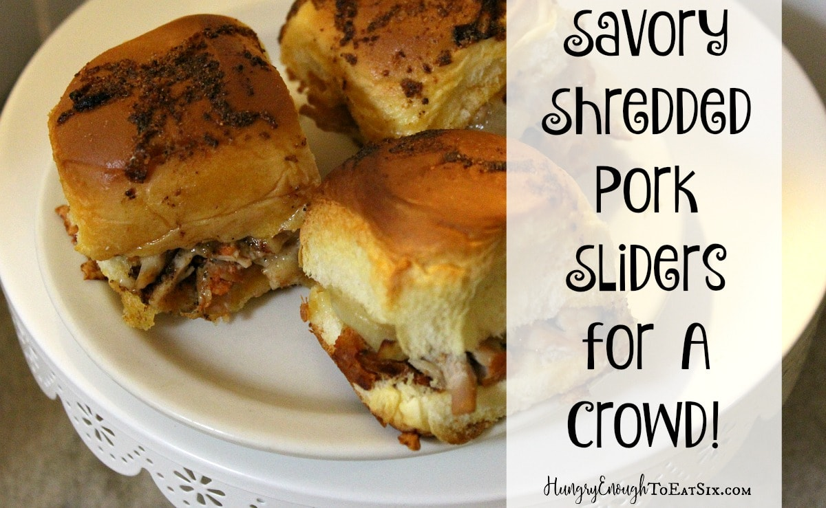 These sliders have a sweet-savory flavor combination of shredded, seasoned pork, sautéed onions, and Pepper Jack cheese.