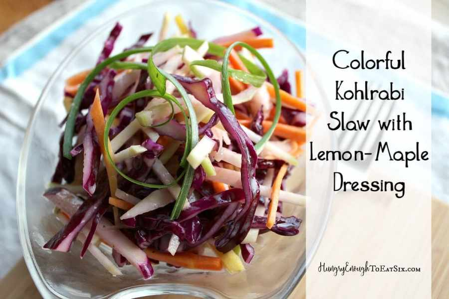 Colorful Kohlrabi Slaw with Lemon-Maple Dressing