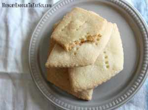 This simple little cookie is so delicious and buttery. It is crisp on the outside with a soft, crumbly texture on the inside.