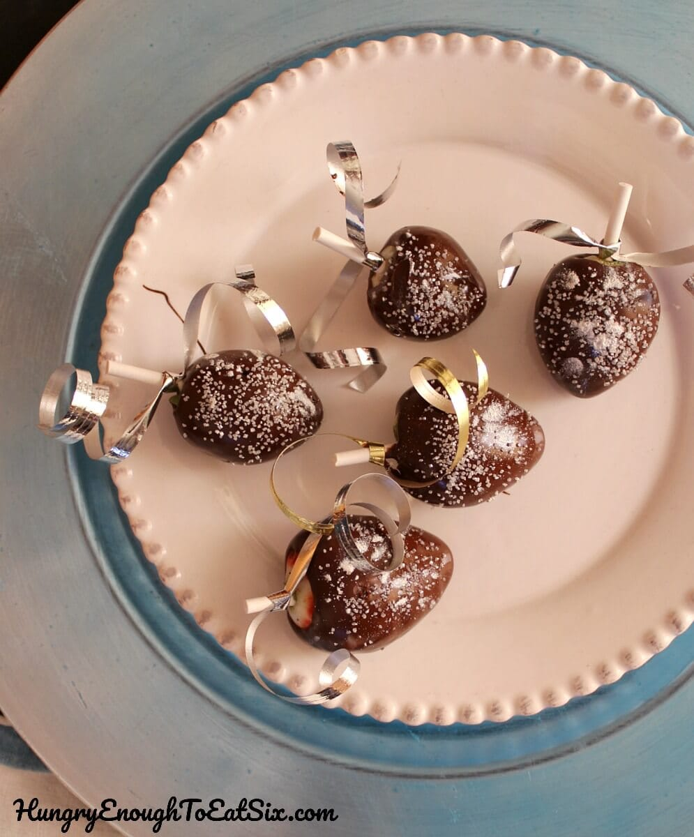The classic, elegant dessert chocolate covered strawberries get a little bling! The sparkle and shine make these perfect for ringing in the new year!