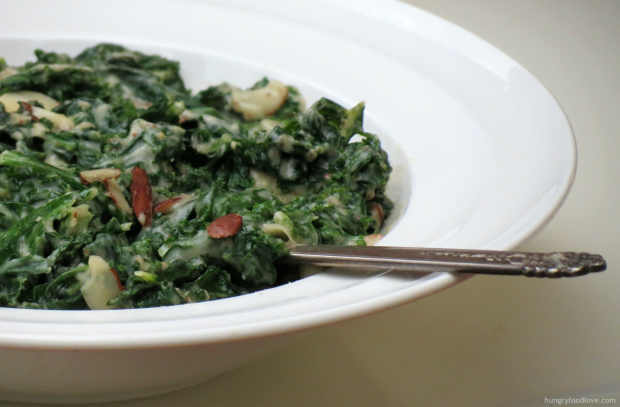 Almond Milk Creamed Kale using Natures Greens