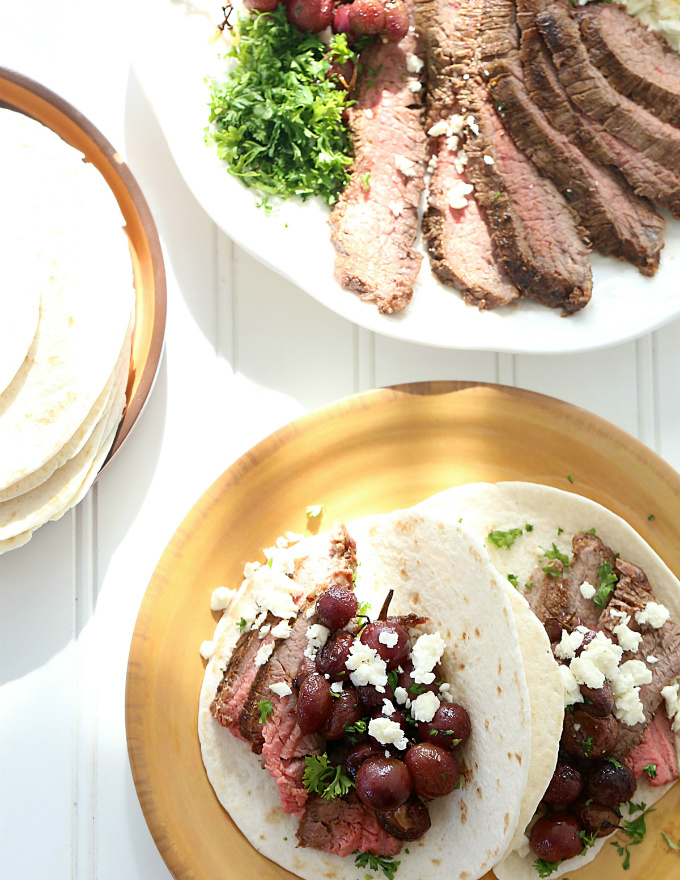 Roasted Grapes Steak Tacos