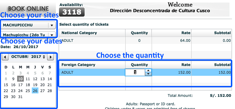 Pick Your Sites Dates and Quantity for Machu Picchu Tickets