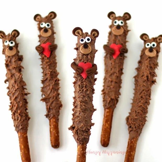 Chocolate Teddy Bear Pretzel Pops Valentines Day Treats