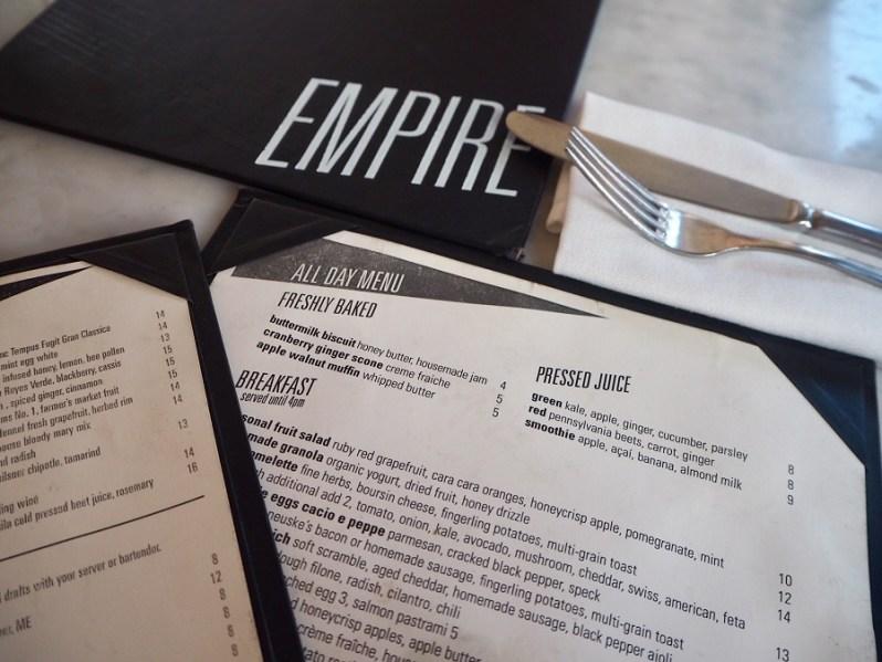 Empire Diner New York menu