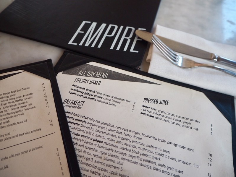Empire Diner New York menu