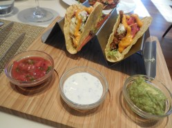 Tacos with Guacamole, Sour Cream and Salsa