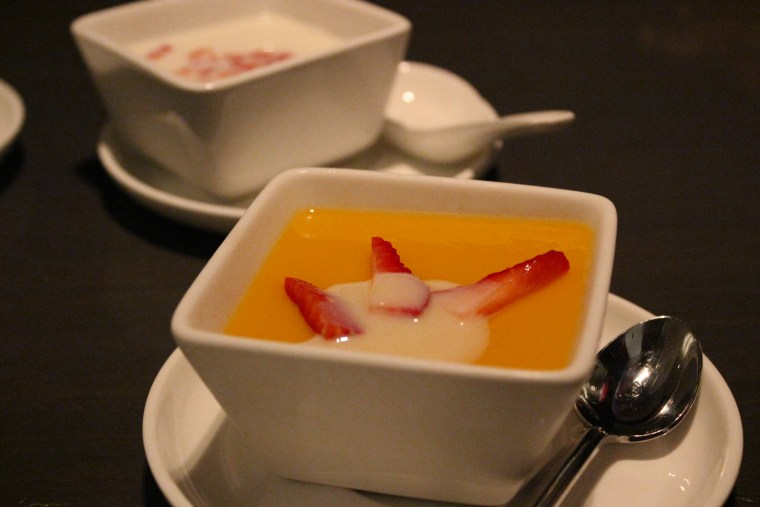 Mango Pudding with Strawberries