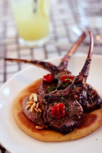 Marinated Lamb Cutlets with Spiced Aubergine