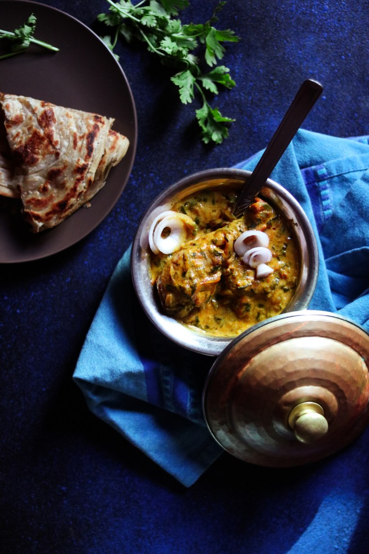 Indian style Methi chicken with roti recipe