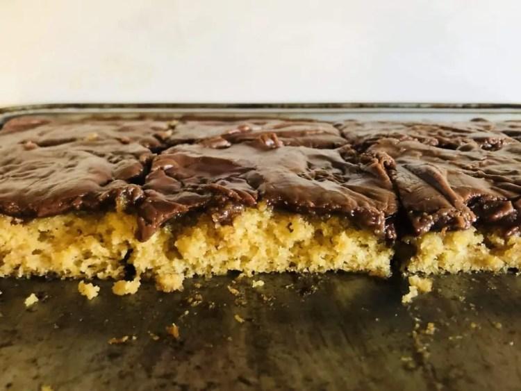 Peanut Butter Sheet Cake with Chocolate Glaze