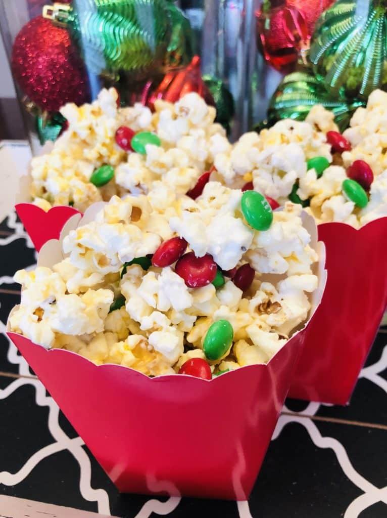 White Chocolate M&M Christmas Popcorn
