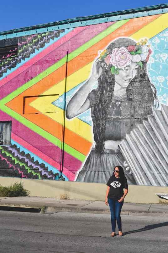 woman with Flower Crown Mural in San Antonio