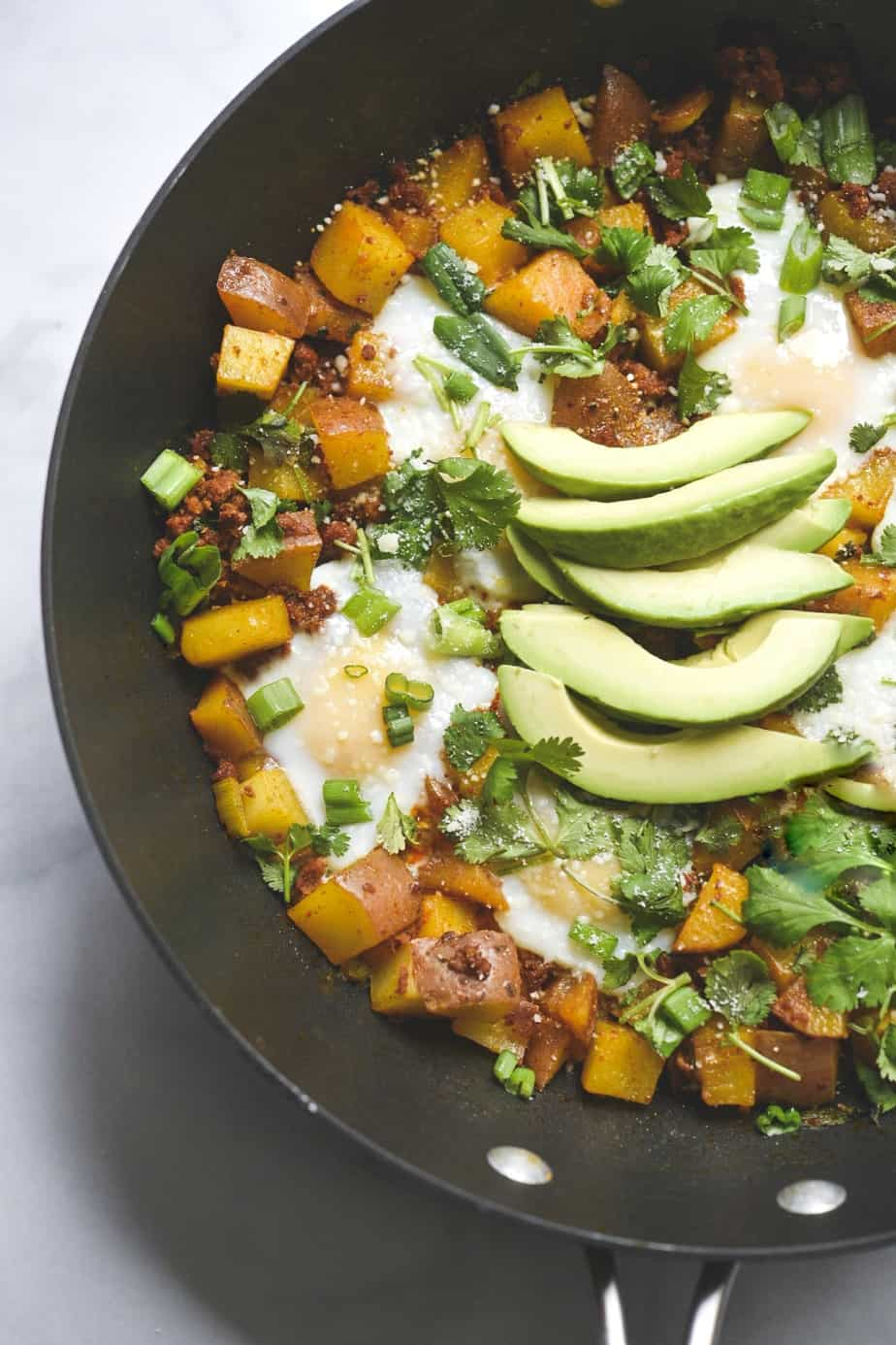 Easy Chorizo, Egg and Potato Hash with cheese