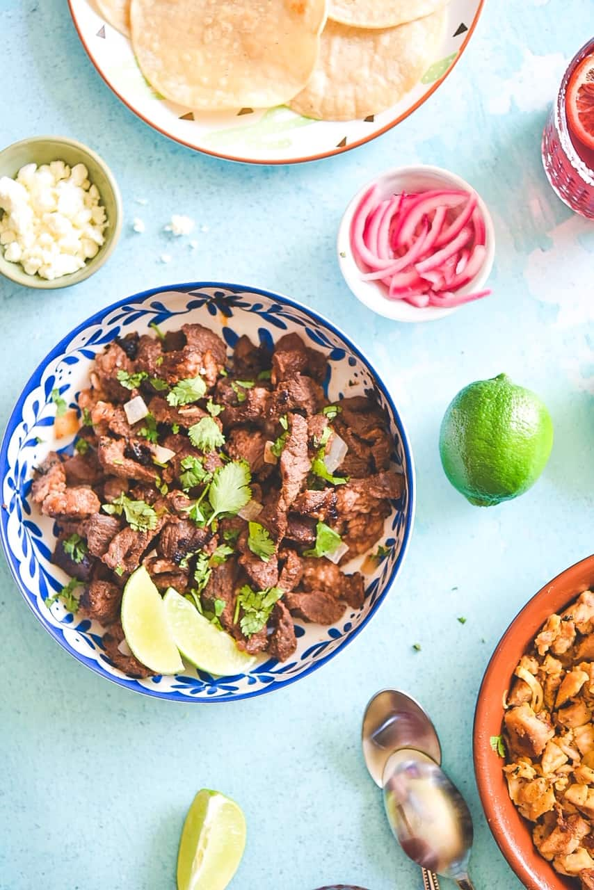 Easy Carne Asada – with cilantro and onions