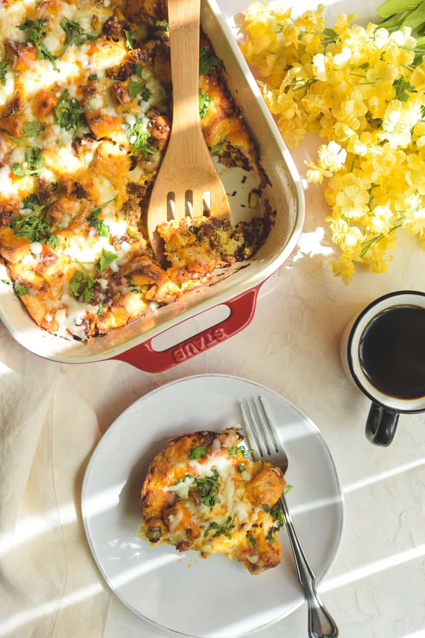 Easy Chorizo Egg and  Gruyere Cheese Casserole – with Everything Bagel