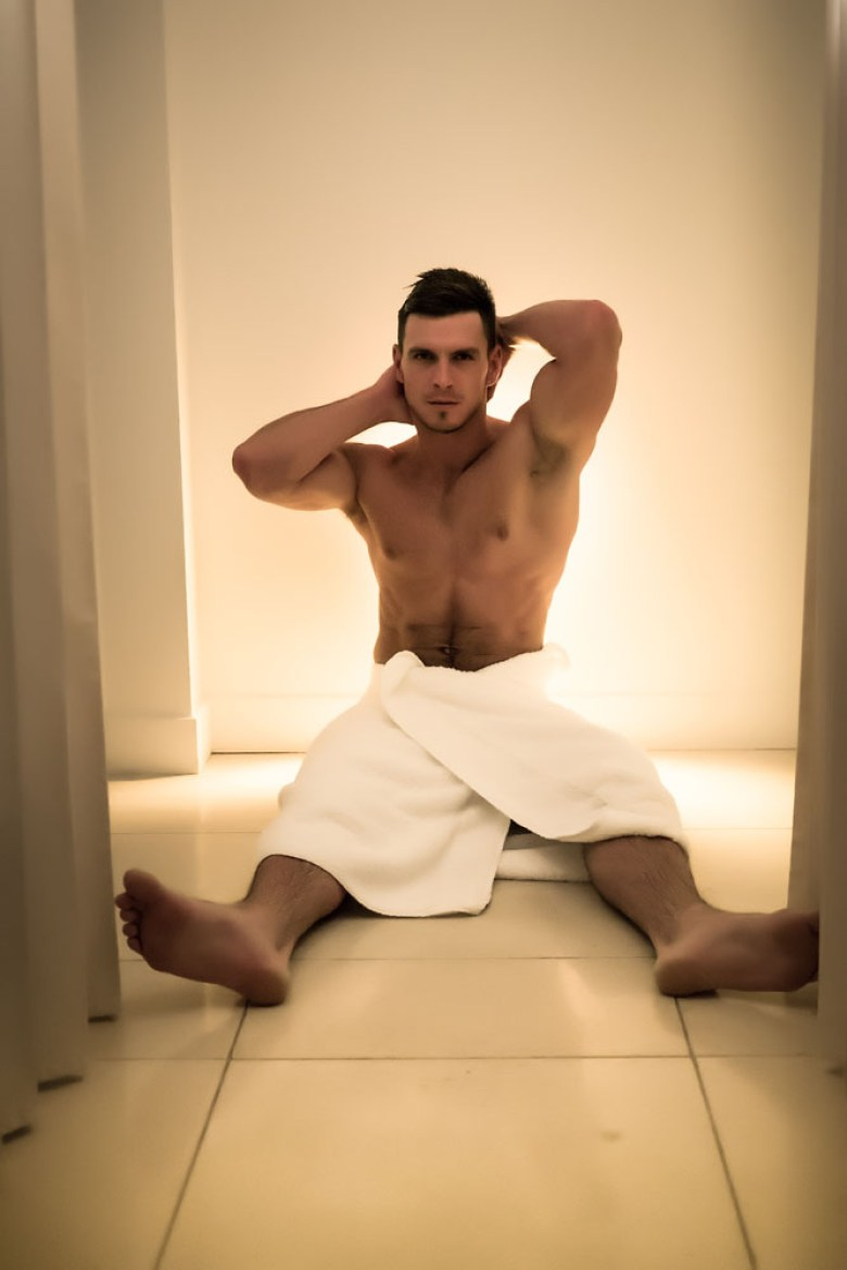 Sexy male model Paddy O'Brian in a towel