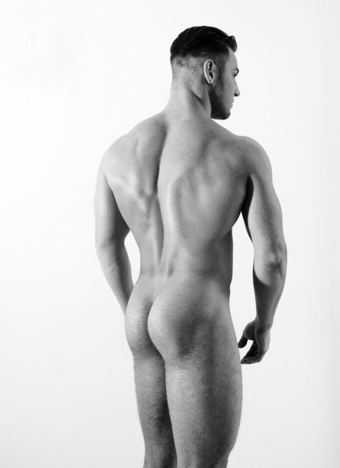 Naked muscle guy butt