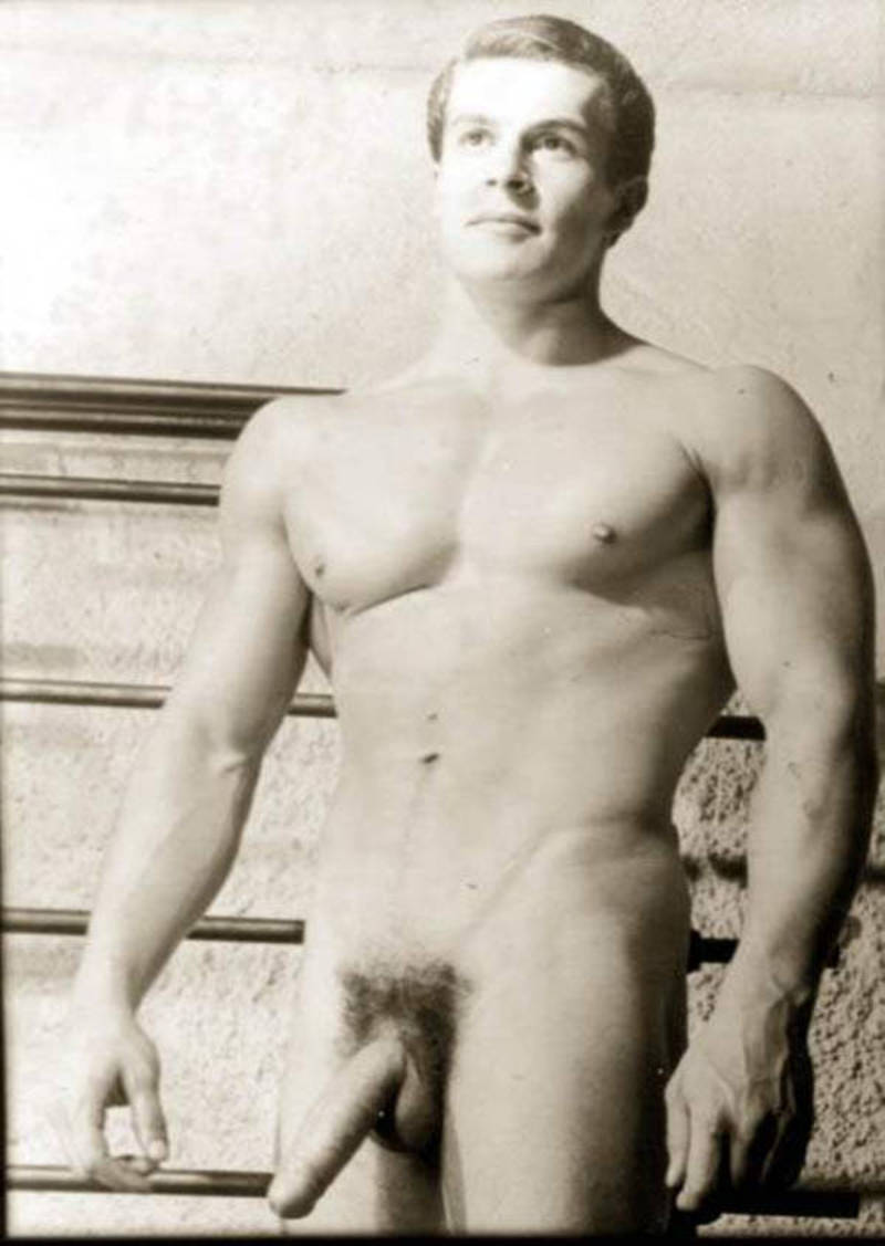 Hung male model Helmut Riedmeier with a long and semi hard cock
