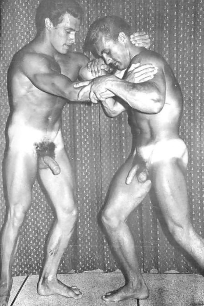 Helmut Riedmeier naked and wrestling with another naked man with his cock getting hard