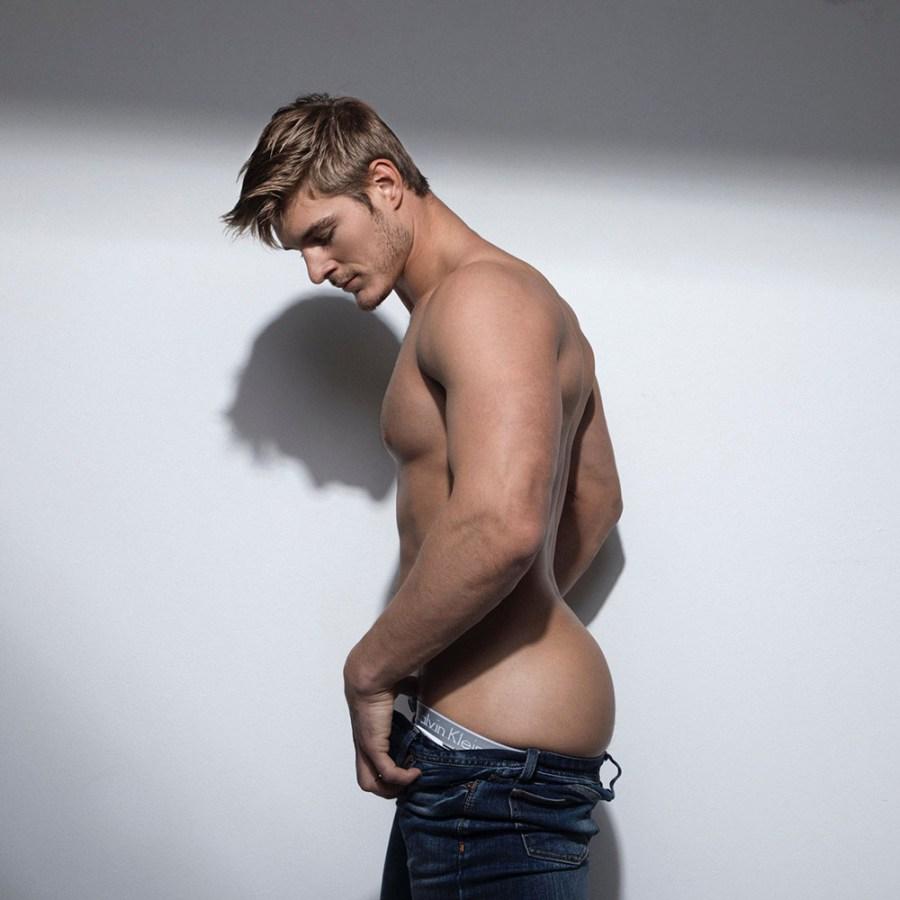 model Ripp Baker shows his smooth jock ass