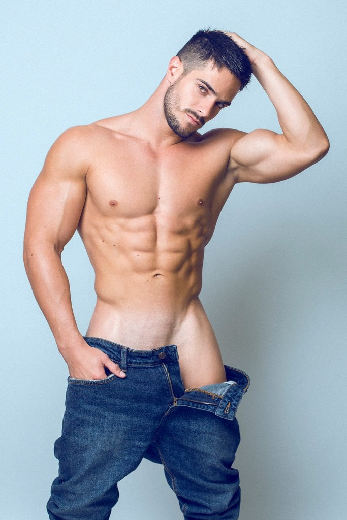 Handsome Cuban male model Jorge Cobian teasing in open heans