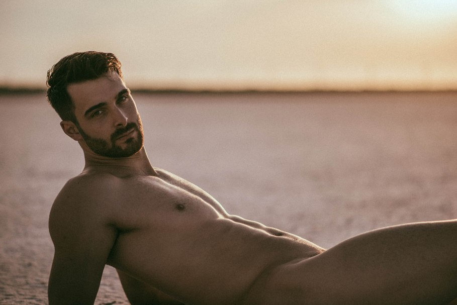 male model Vivien Mistral at the beach