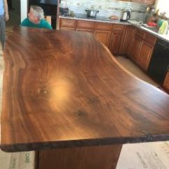 Kitchen Island Top Electronics Beautiful Live Edge Claro Walnut Slab Salvaging We Created This For A Remodel In Home Daly City Ca The Measures 96 X48 42 Wide And Is