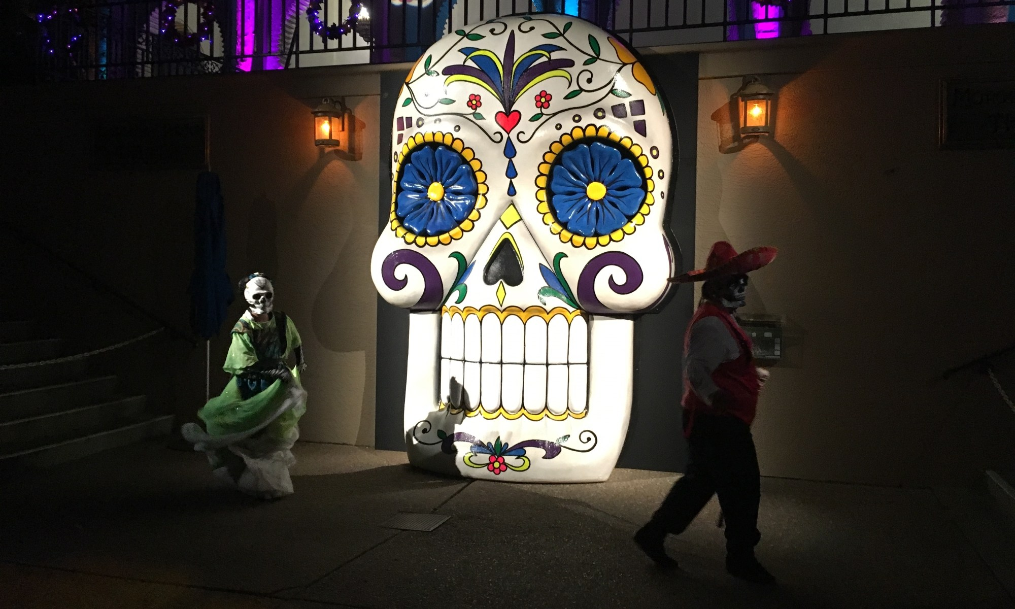 Image: Howl-O-Scream Day of Dead characters with giant calavera