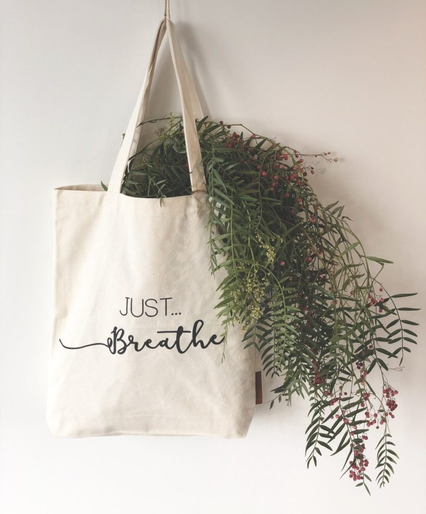 just breathe tote bag hunter and the fox australia