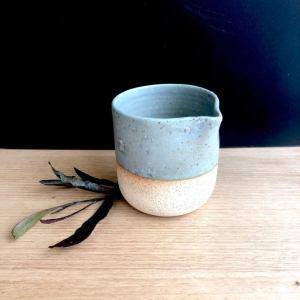 Handmade ceramic pour pot in duck egg hunter and the fox australia
