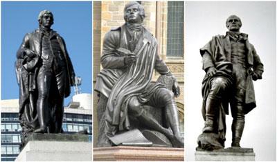 3 statues of Robert Burns