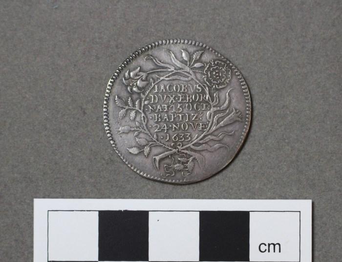 GLAHM:40109, Baptism of Prince James, Duke of York, 1633 (reverse).