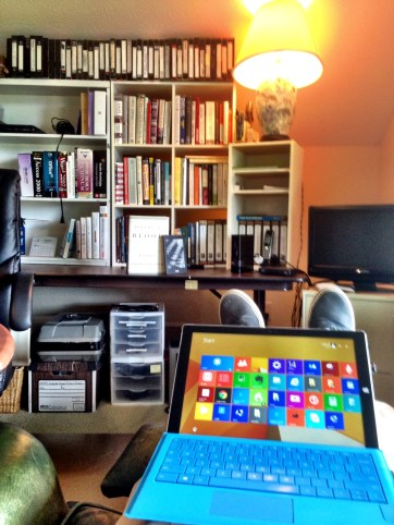 Working at home.