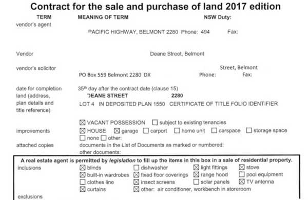 nsw contract for sale of land