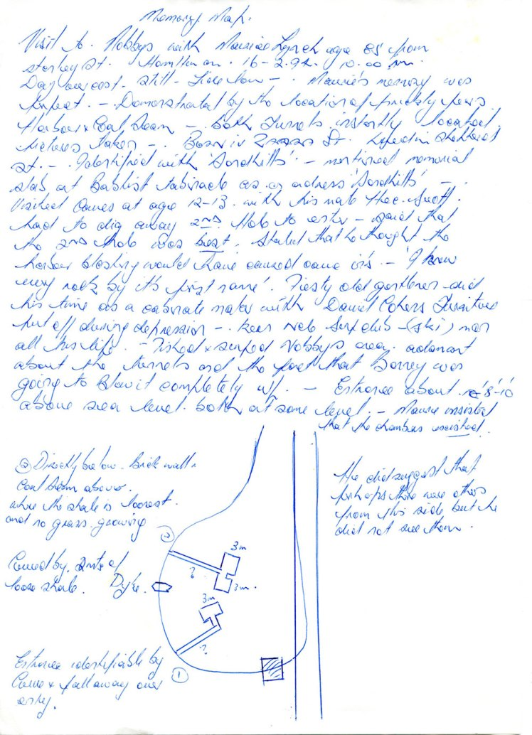 Manuscript notes relating to Mr Lynch's reminiscences of the Nobbys Tunnels