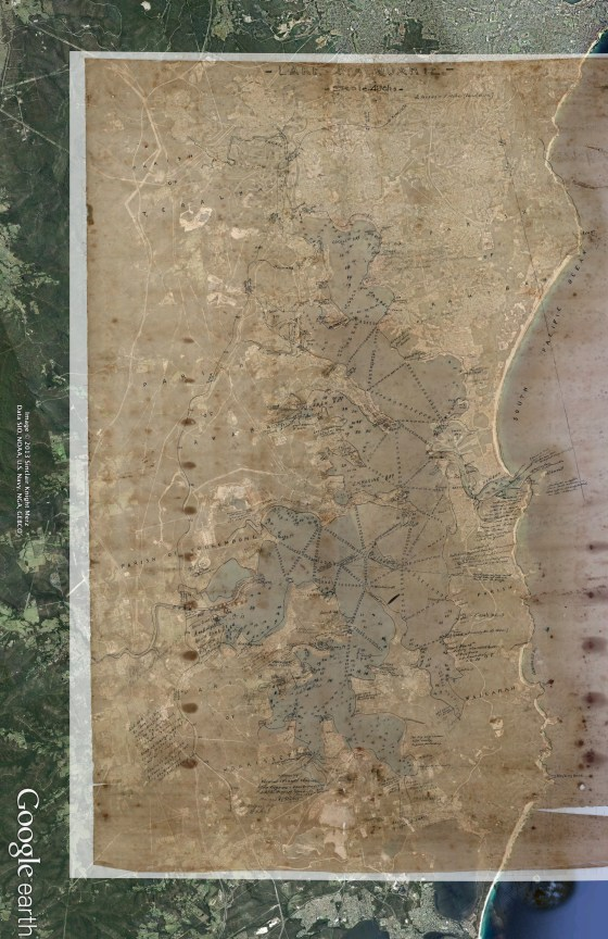Overlay of 1907-1908 Survey with 2013 Google Earth Imagery of lake Macquarie