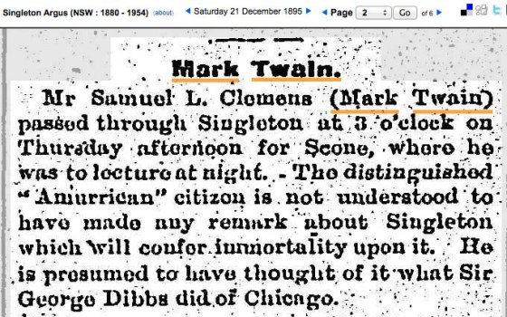 Mark Twain from The Singleton Argus 21 December 1895 p.2 (Ref: Trove)
