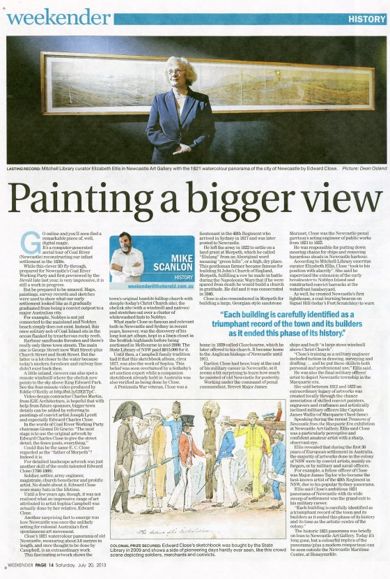 """""""Painting a bigger view"""" by Mike Scanlon. NH 20 July 2013 p.14"""