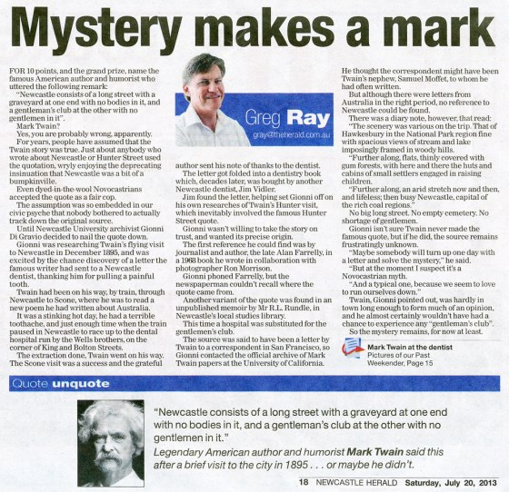 """Mystery makes a mark"" - by Greg Ray (Newcastle Herald 20 July 2013 p.18)"