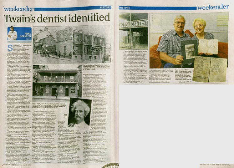 """Twain's dentist identified"" - Mike Scanlon, (Courtesy Newcastle Herald Weekender, 18 July 2015 pp14-15)"