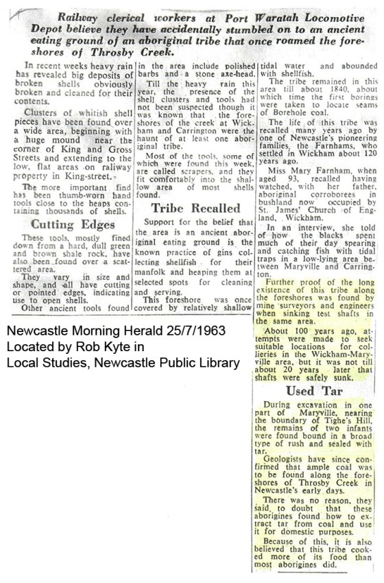 Newcastle Morning Herald 25th July 1963 Located by Rob Kyte in Local Studies, Newcastle Public Library