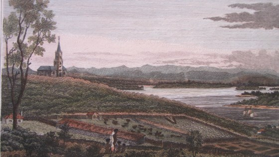 Coloured engraving of Christ Church Newcastle and surrounds circa 1820s