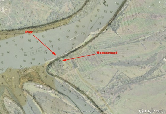 Detail from 1871 map overlayed in 2014 Google Earth showing relative position of wharf and homestead.