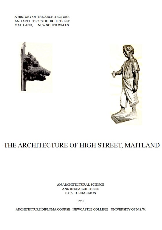 Front Cover of 2015 Digital Edition of The Architecture of High Street Maitland (1961) by K.D. Charlton