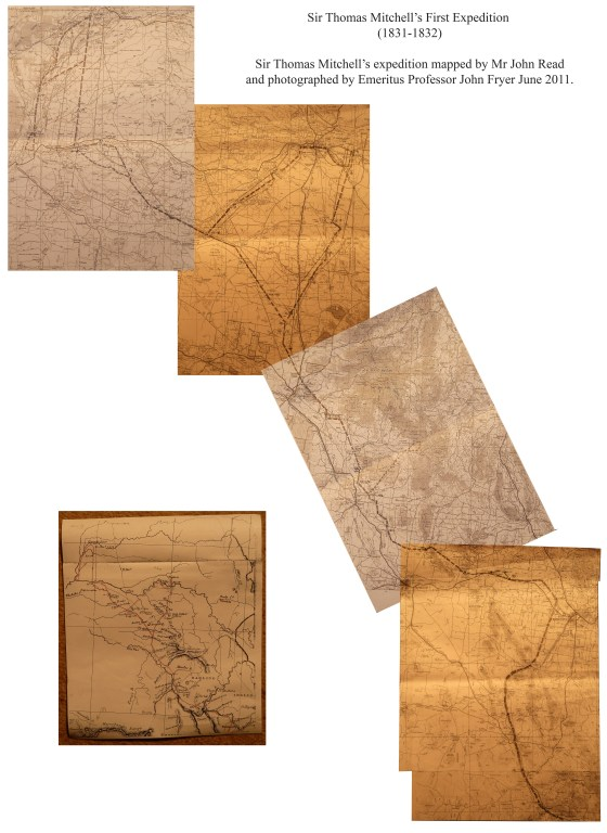 Sir Thomas Mitchell's First Expedition 1831-1832 showing course drawn by Mr John Read (2011) Photographed by Emeritus Professor John Fryer.
