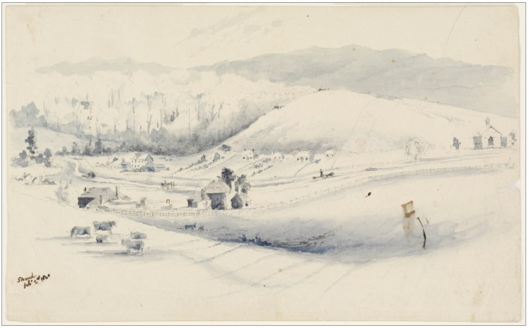21(b). Stroud, Feb. 2nd. 1840. Pencil and blue wash. (Courtesy of State Library of NSW)