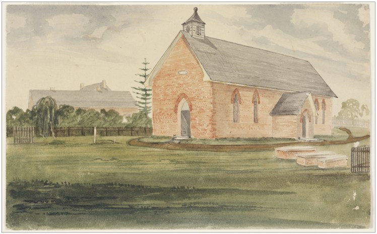 17(b). Stroud Church, ca. 1850. Watercolour. (Courtesy of State Library of NSW)