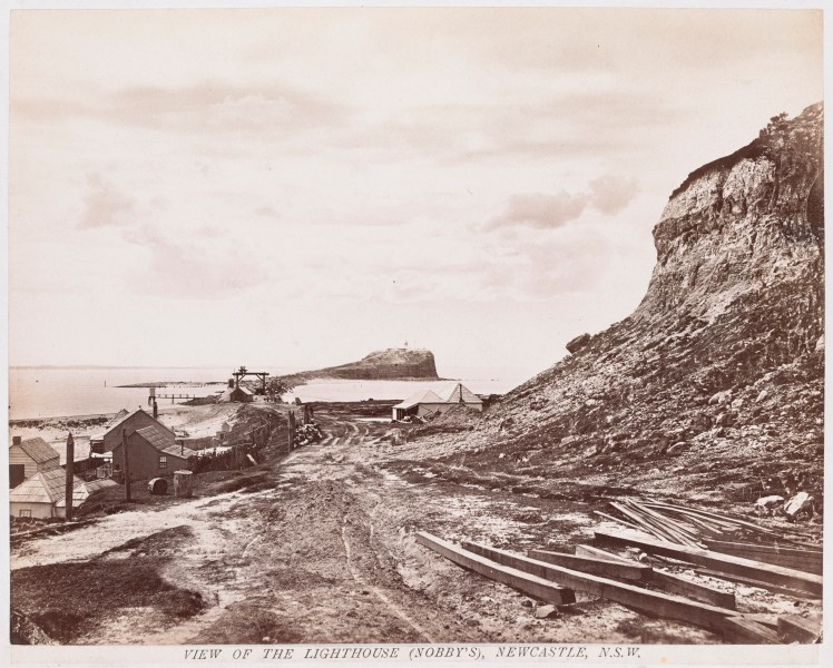 View of Lighthouse (Nobby's) Newcastle (H141652-Courtesy of the State Library of Victoria)