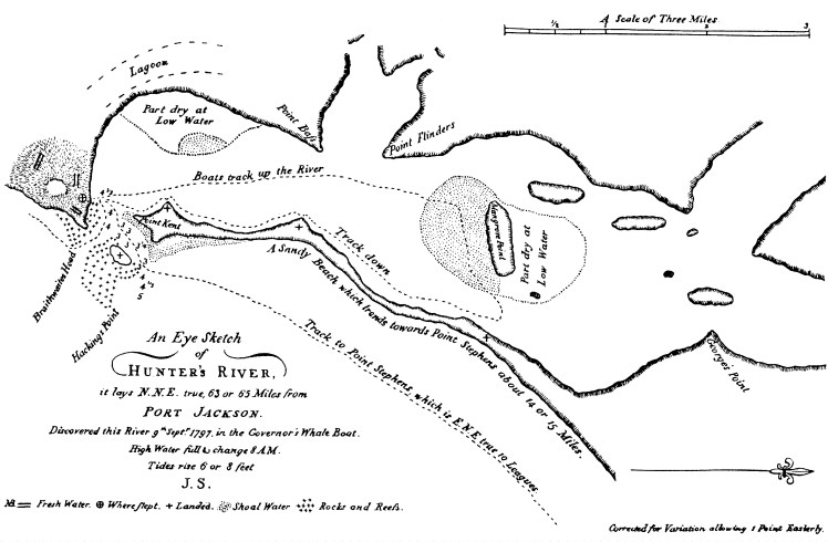 Lieutenant John Shortland's Eye Sketch of Hunter's River 1797, first published 1810.